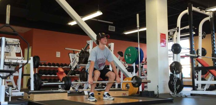 His deadlift increased from 65 lbs to 105 lbs